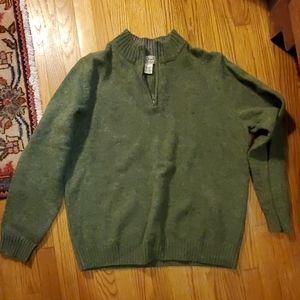 Green LL Bean 100% wool sweater